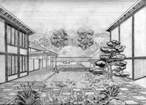 An early conceptual sketch of the courtyard